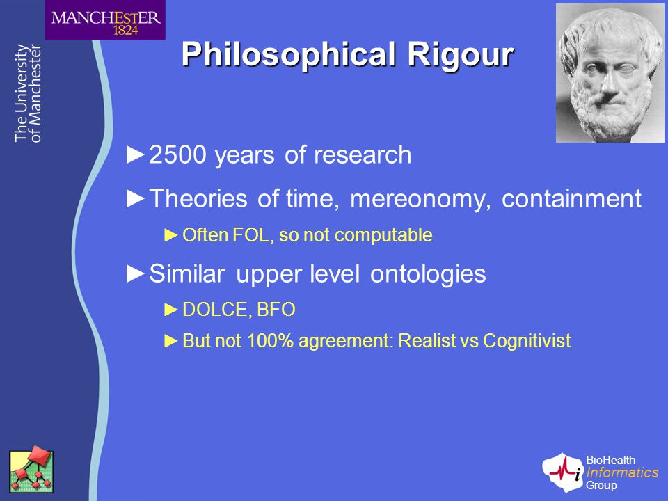BioHealth Informatics Group Philosophical Rigour ►2500 years of research ►Theories of time, mereonomy, containment ►Often FOL, so not computable ►Similar upper level ontologies ►DOLCE, BFO ►But not 100% agreement: Realist vs Cognitivist
