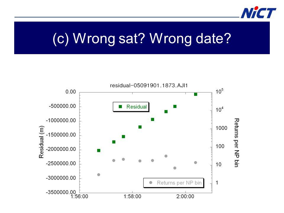 (c) Wrong sat? Wrong date?