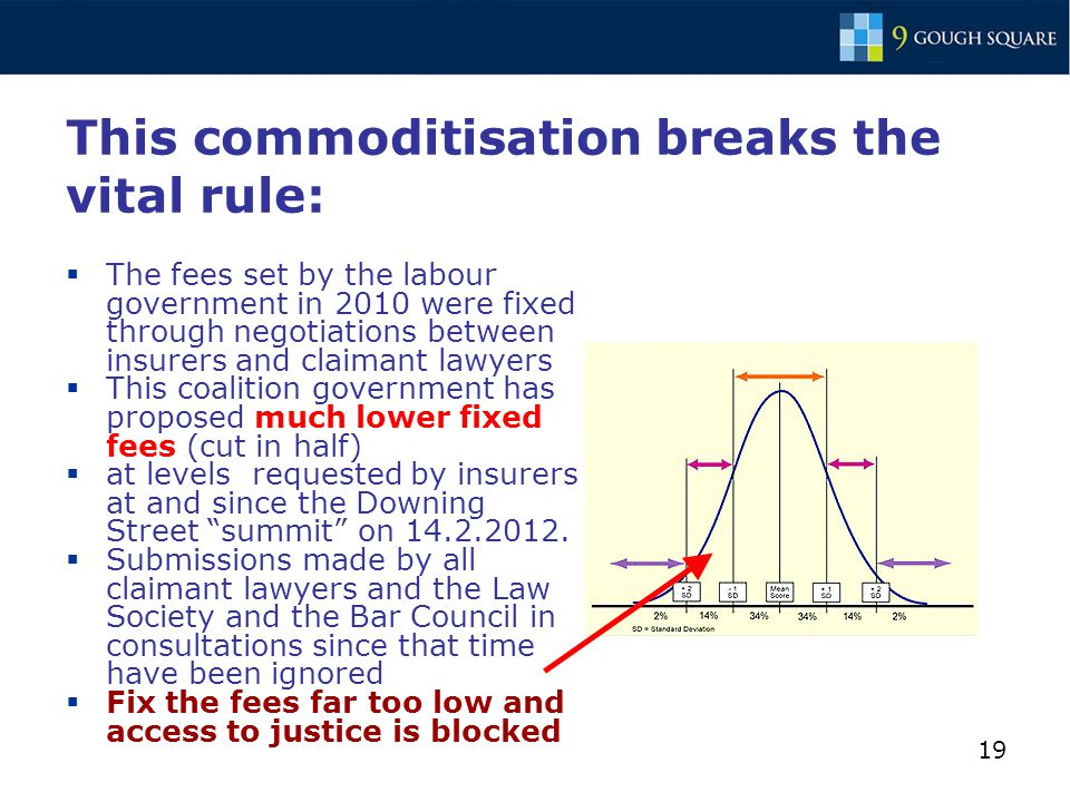 19 This commoditisation breaks the vital rule:  The fees set by the labour government in 2010 were fixed through negotiations between insurers and claimant lawyers  This coalition government has proposed much lower fixed fees (cut in half)  at levels requested by insurers at and since the Downing Street summit on 14.2.2012.