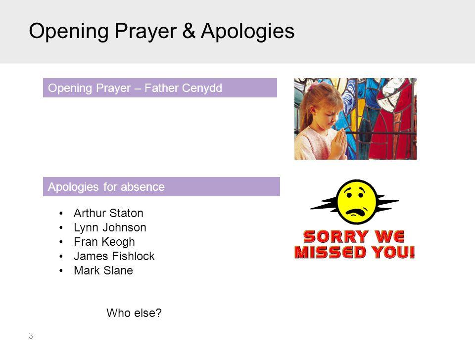 Opening Prayer & Apologies 3 Arthur Staton Lynn Johnson Fran Keogh James Fishlock Mark Slane Who else.