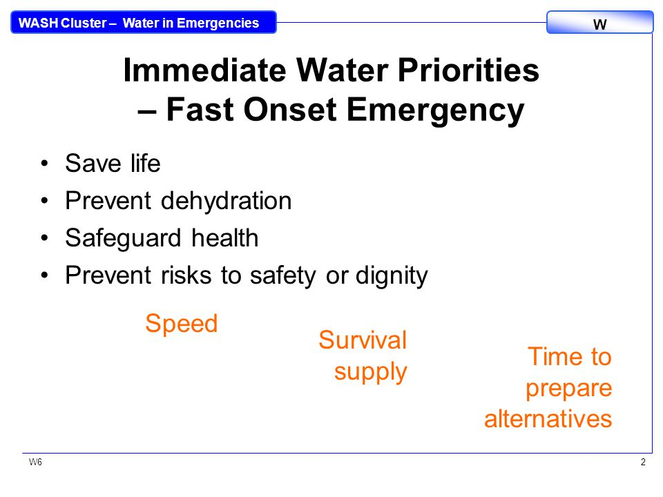 WASH Cluster – Water in Emergencies W W62 Immediate Water Priorities – Fast Onset Emergency Save life Prevent dehydration Safeguard health Prevent risks to safety or dignity Speed Survival supply Time to prepare alternatives