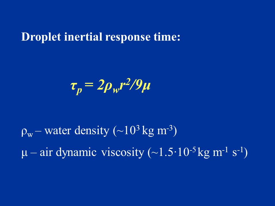 Droplet inertial response time: τ p = 2ρ w r 2 /9μ ρ w – water density (~10 3 kg m -3 ) μ – air dynamic viscosity (~1.5∙10 -5 kg m -1 s -1 )