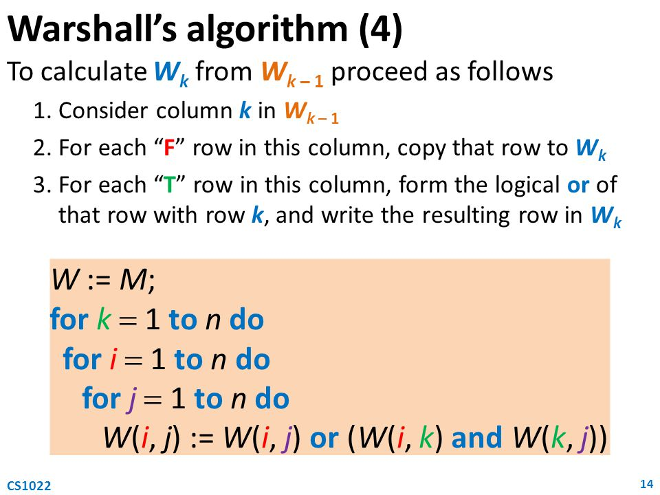 """Warshall's algorithm (4) To calculate W k from W k – 1 proceed as follows 1.Consider column k in W k – 1 2.For each """"F"""" row in this column, copy that"""