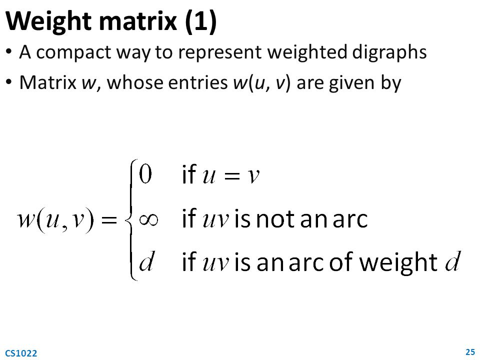 Weight matrix (1) A compact way to represent weighted digraphs Matrix w, whose entries w(u, v) are given by 25 CS1022