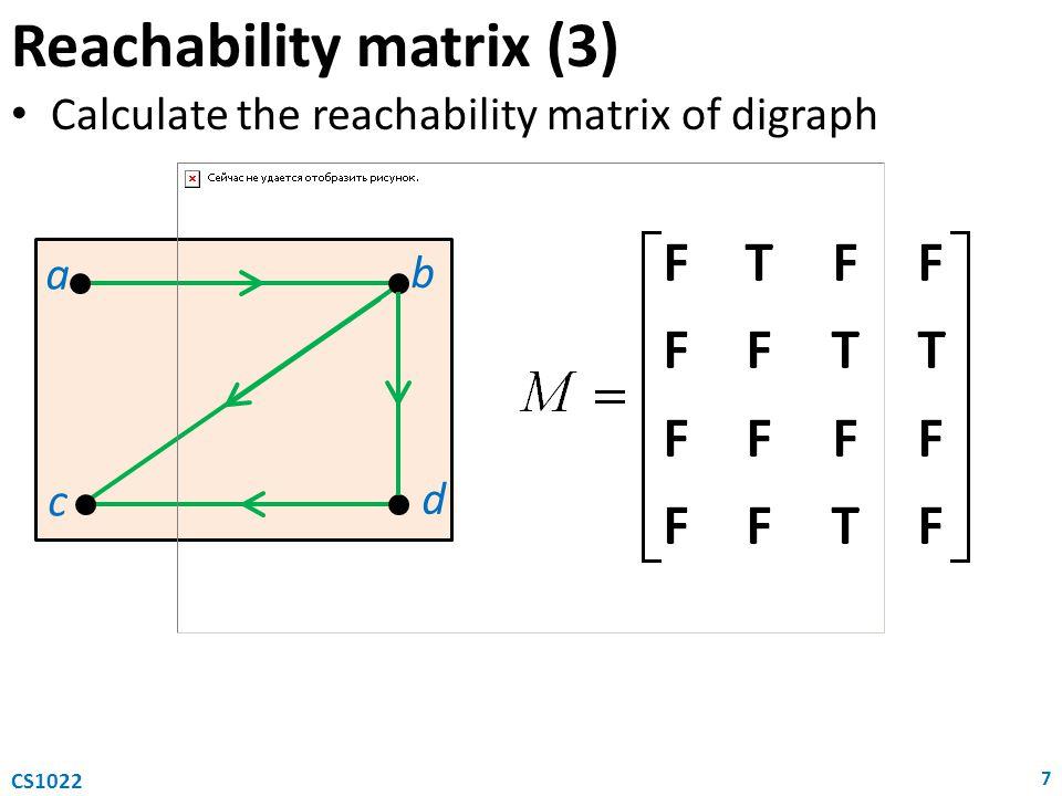 Reachability matrix (3) Calculate the reachability matrix of digraph 7 CS1022 a c b d