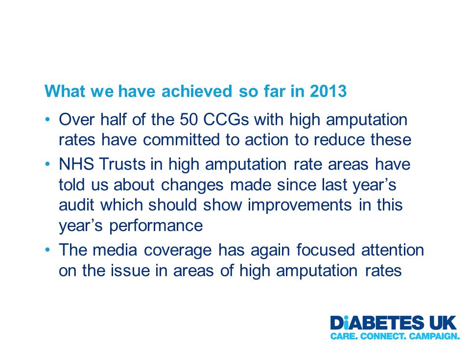 What we have achieved so far in 2013 Over half of the 50 CCGs with high amputation rates have committed to action to reduce these NHS Trusts in high amputation rate areas have told us about changes made since last year's audit which should show improvements in this year's performance The media coverage has again focused attention on the issue in areas of high amputation rates