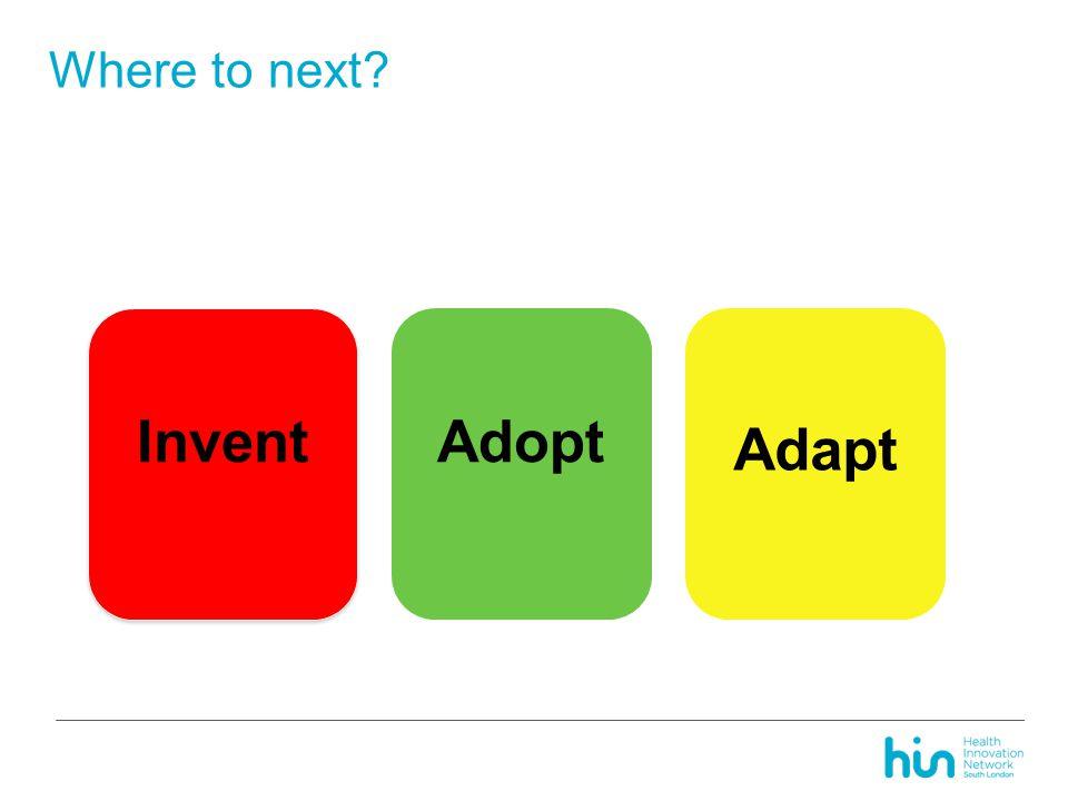 Where to next? Invent Adopt Adapt