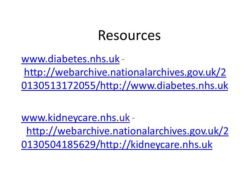 Resources www.diabetes.nhs.ukwww.diabetes.nhs.uk - http://webarchive.nationalarchives.gov.uk/2 0130513172055/http://www.diabetes.nhs.ukhttp://webarchi