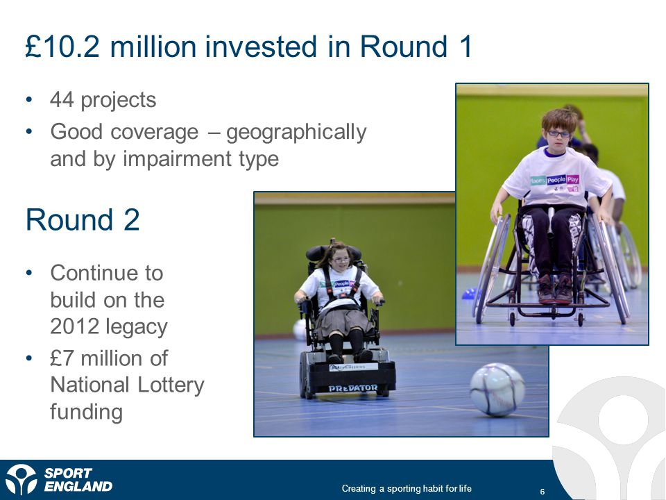 Creating a sporting habit for life The Inclusive Sport Fund Led by the needs of disabled people Bring together experts from both sport and disability sectors Participation by all disabled people Inclusive and dedicated opportunities Opportunities that are not just accessible but are friendly, welcoming, and effectively staffed Innovative, scalable and replicable projects Taking sport to places disabled people already inhabit.