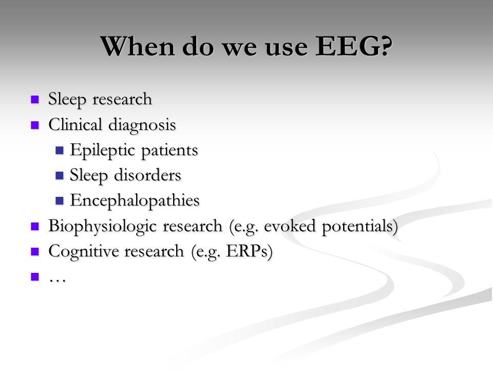 When do we use EEG? Sleep research Sleep research Clinical diagnosis Clinical diagnosis Epileptic patients Epileptic patients Sleep disorders Sleep di