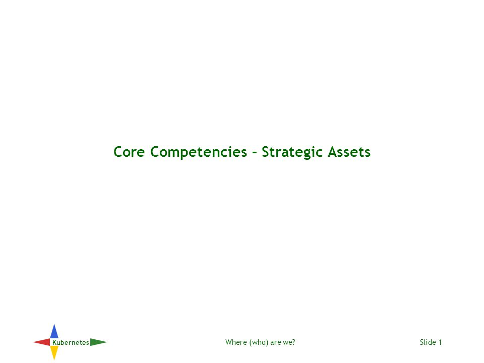 Where (who) are we Slide 1 Kubernetes Core Competencies – Strategic Assets