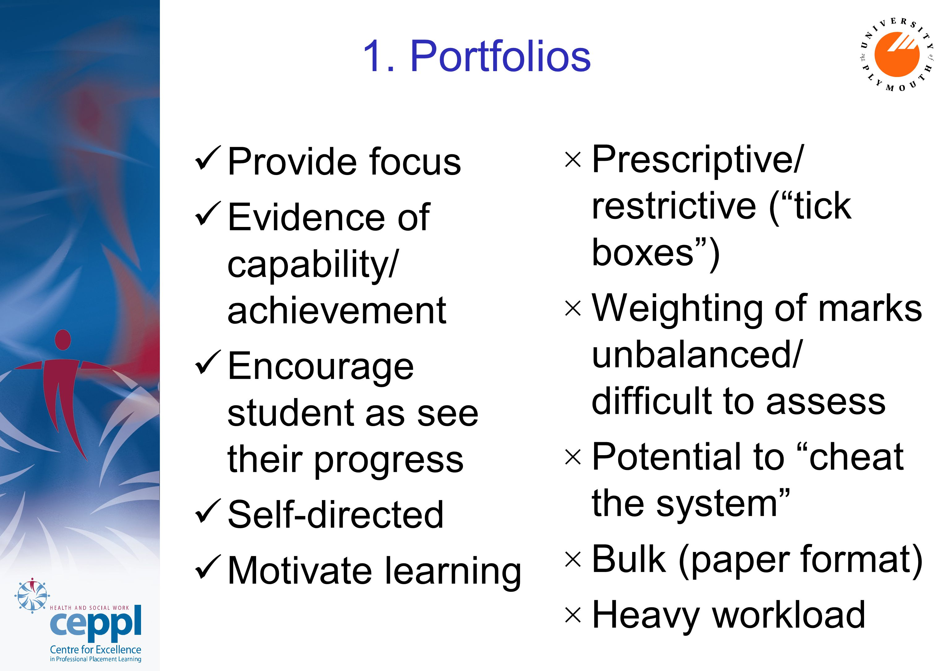 1. Portfolios Provide focus Evidence of capability/ achievement Encourage student as see their progress Self-directed Motivate learning × Prescriptive