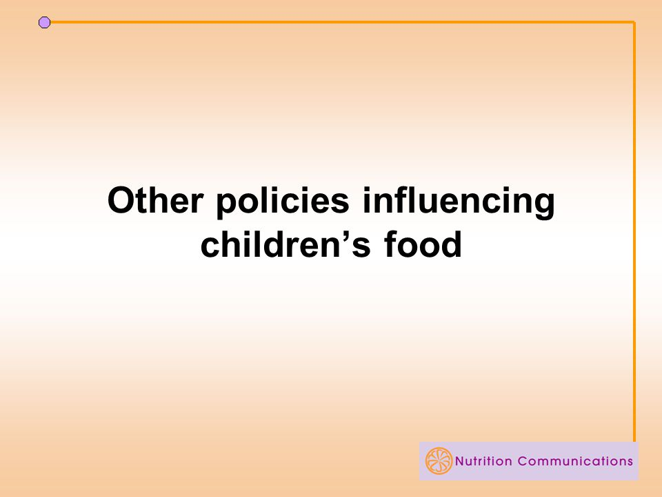 Other policies influencing children's food