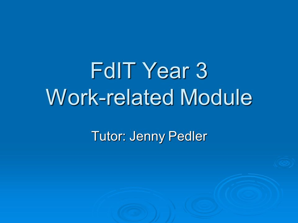 What is the Work-related module.