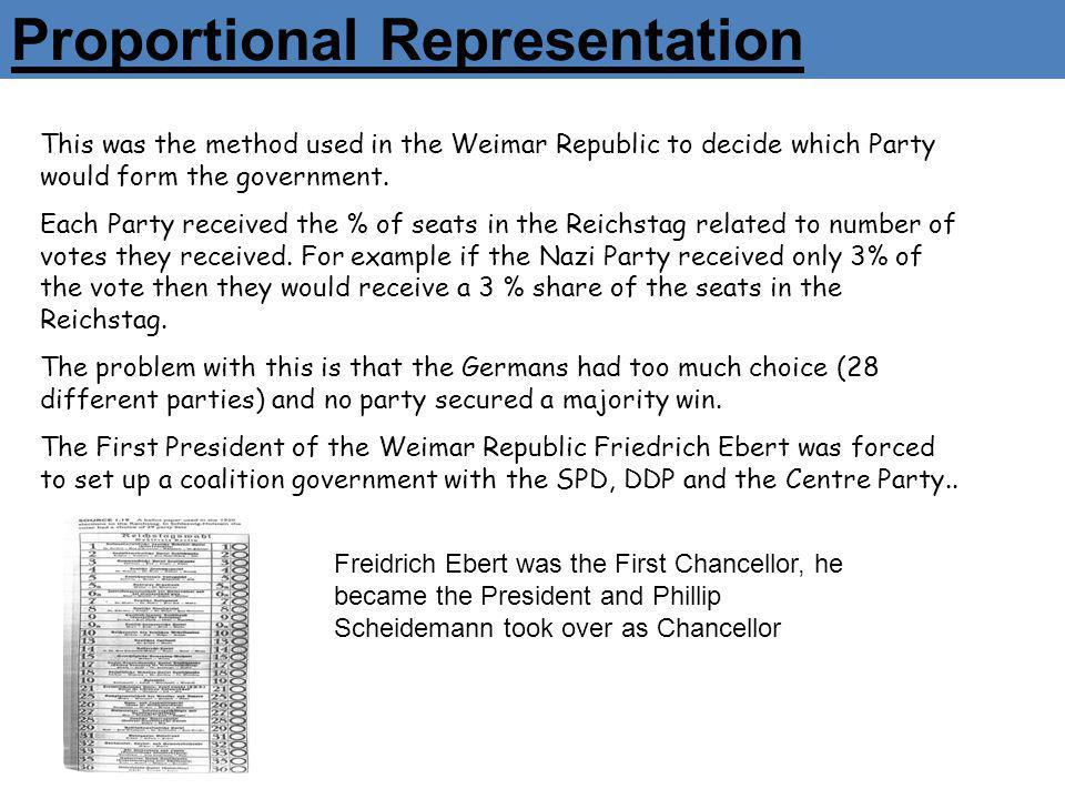 Proportional Representation This was the method used in the Weimar Republic to decide which Party would form the government. Each Party received the %