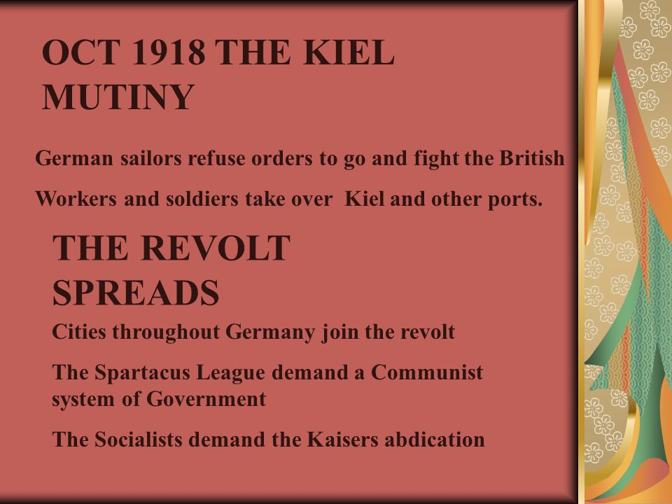 German sailors refuse orders to go and fight the British Workers and soldiers take over Kiel and other ports. OCT 1918 THE KIEL MUTINY THE REVOLT SPRE