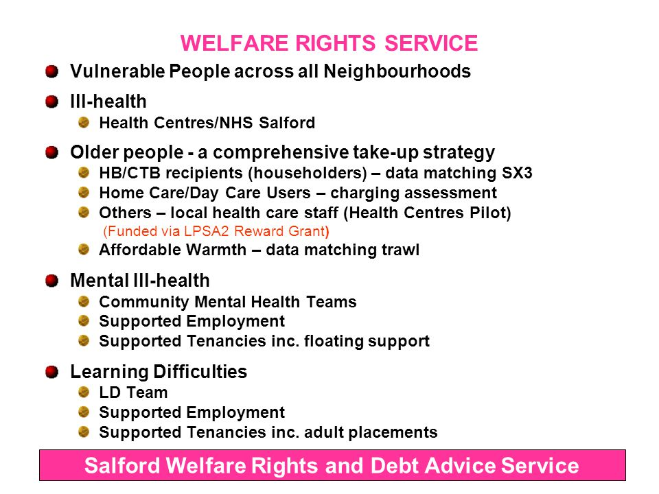 WELFARE RIGHTS SERVICE Ethnic Minorities Urdu/Punjabi (Pakistani/Indian Communities) (Post frozen) Arabic (Yemeni, Iraqi etc.