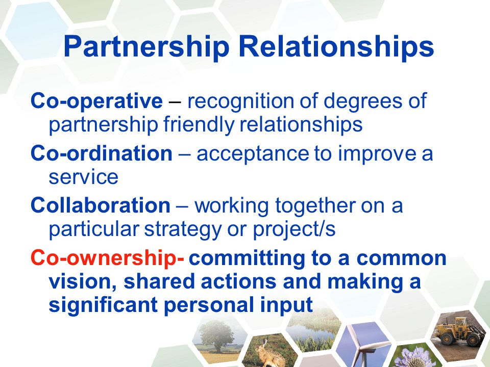Partnership Relationships Co-operative – recognition of degrees of partnership friendly relationships Co-ordination – acceptance to improve a service