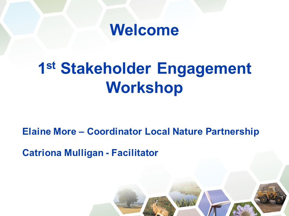 Welcome 1 st Stakeholder Engagement Workshop Elaine More – Coordinator Local Nature Partnership Catriona Mulligan - Facilitator