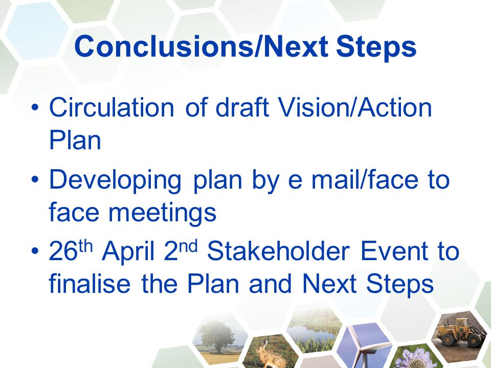 Conclusions/Next Steps Circulation of draft Vision/Action Plan Developing plan by e mail/face to face meetings 26 th April 2 nd Stakeholder Event to finalise the Plan and Next Steps