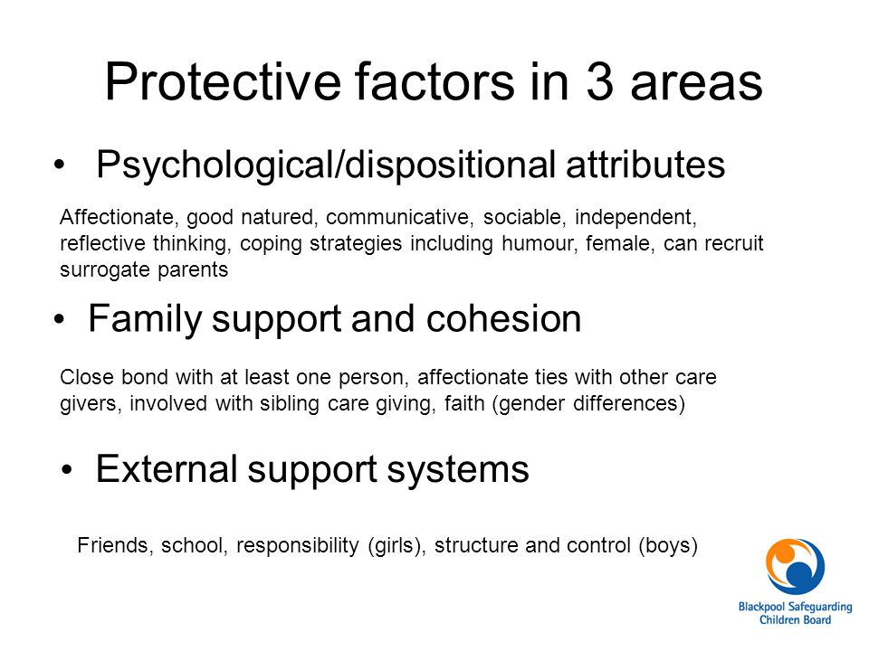 Protective factors in 3 areas Psychological/dispositional attributes Affectionate, good natured, communicative, sociable, independent, reflective thinking, coping strategies including humour, female, can recruit surrogate parents Family support and cohesion Close bond with at least one person, affectionate ties with other care givers, involved with sibling care giving, faith (gender differences) External support systems Friends, school, responsibility (girls), structure and control (boys)