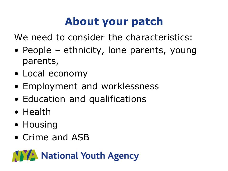 About your patch We need to consider the characteristics: People – ethnicity, lone parents, young parents, Local economy Employment and worklessness Education and qualifications Health Housing Crime and ASB
