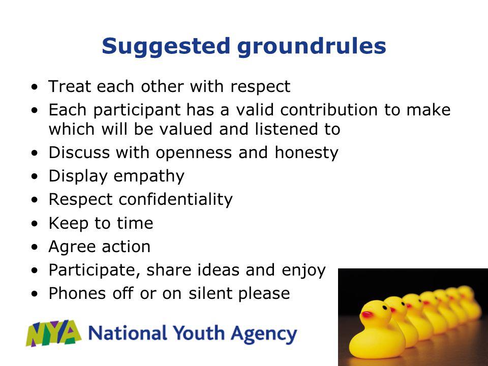 Suggested groundrules Treat each other with respect Each participant has a valid contribution to make which will be valued and listened to Discuss with openness and honesty Display empathy Respect confidentiality Keep to time Agree action Participate, share ideas and enjoy Phones off or on silent please