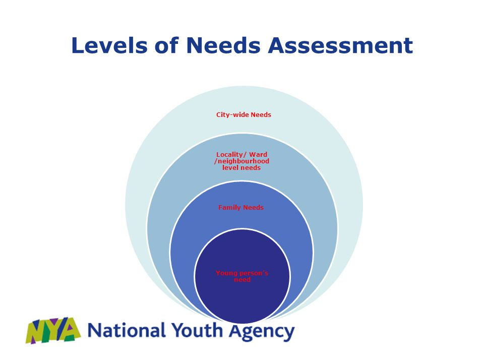 Levels of Needs Assessment City-wide Needs Locality/ Ward /neighbourhood level needs Family Needs Young person's need