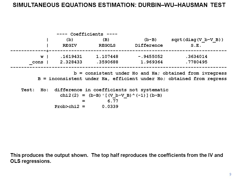 9 This produces the output shown. The top half reproduces the coefficients from the IV and OLS regressions. SIMULTANEOUS EQUATIONS ESTIMATION: DURBIN–