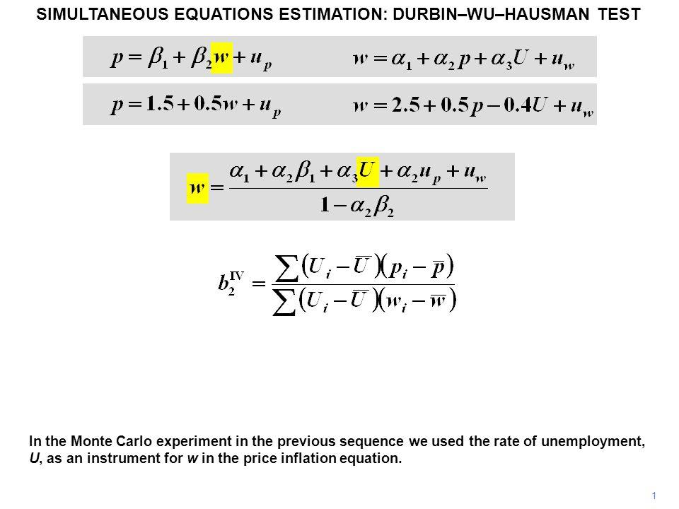 12 SIMULTANEOUS EQUATIONS ESTIMATION: DURBIN–WU–HAUSMAN TEST ---- Coefficients ---- | (b) (B) (b-B) sqrt(diag(V_b-V_B)) | REGIV REGOLS Difference S.E.