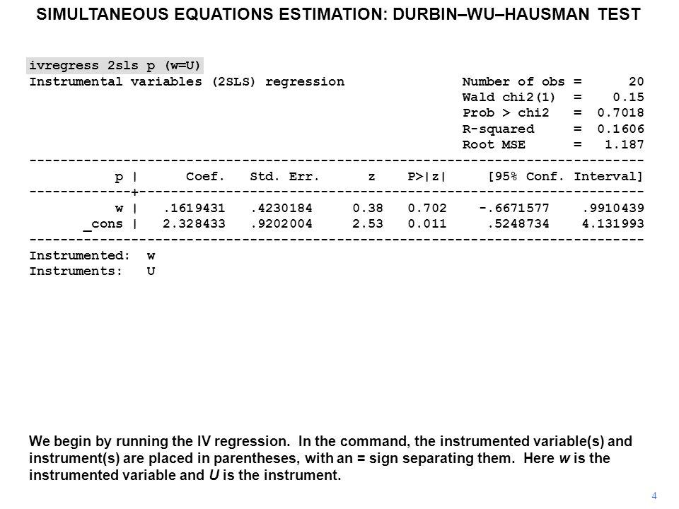 5 ivregress 2sls p (w=U) Instrumental variables (2SLS) regression Number of obs = 20 Wald chi2(1) = 0.15 Prob > chi2 = 0.7018 R-squared = 0.1606 Root MSE = 1.187 ------------------------------------------------------------------------------ p | Coef.