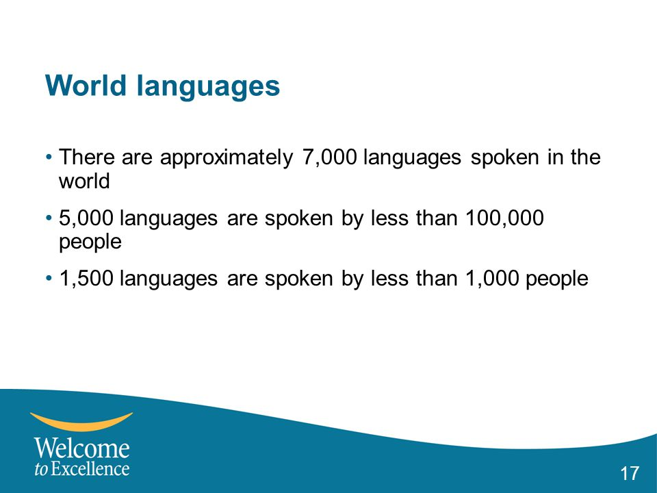17 World languages There are approximately 7,000 languages spoken in the world 5,000 languages are spoken by less than 100,000 people 1,500 languages are spoken by less than 1,000 people