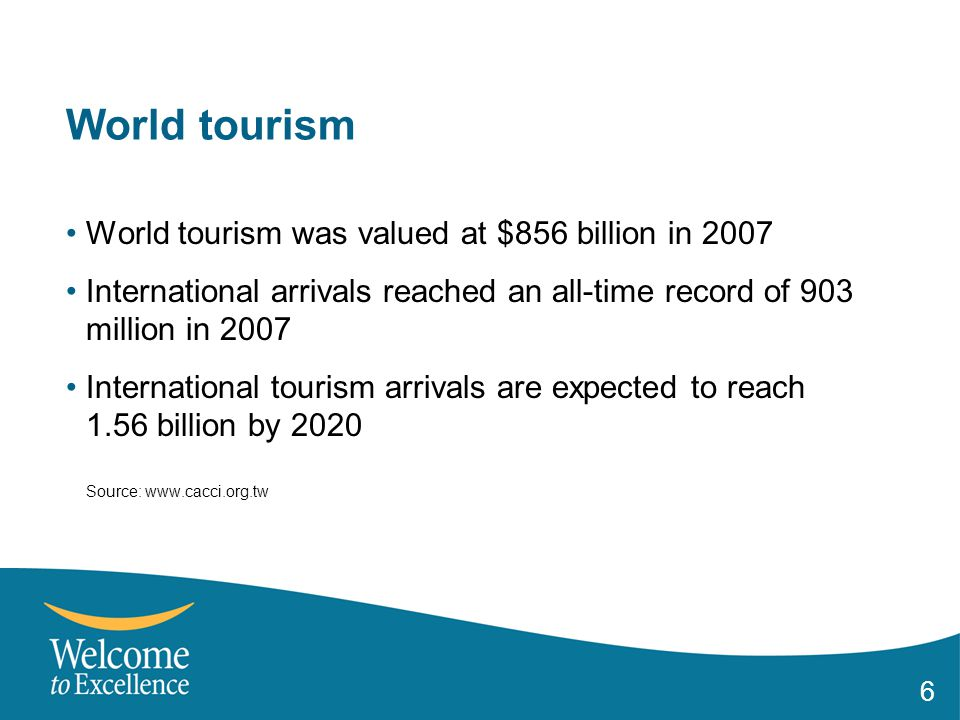 6 World tourism World tourism was valued at $856 billion in 2007 International arrivals reached an all-time record of 903 million in 2007 International tourism arrivals are expected to reach 1.56 billion by 2020 Source: www.cacci.org.tw