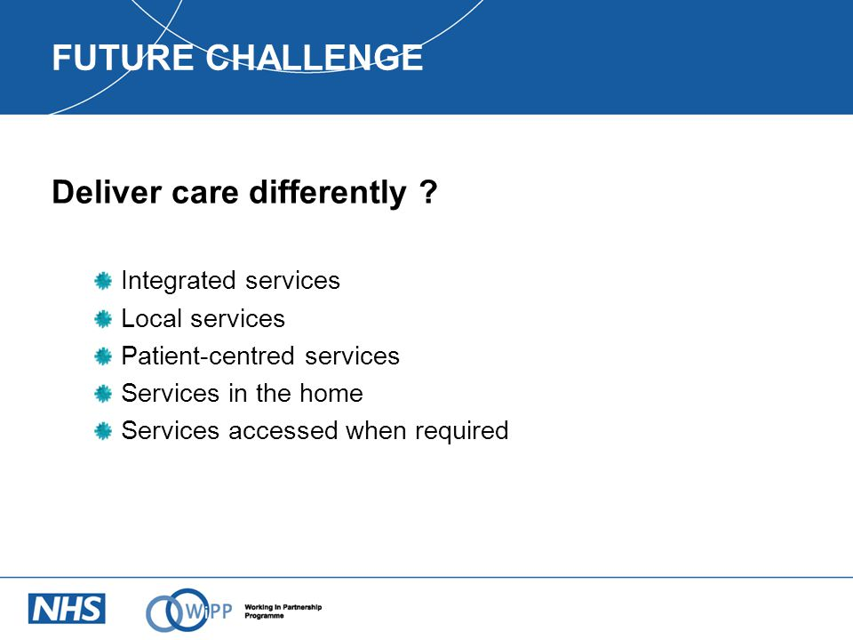 FUTURE CHALLENGE Deliver care differently .