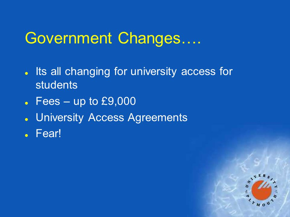 Government Changes….