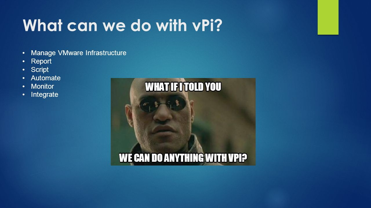What can we do with vPi? Manage VMware Infrastructure Report Script Automate Monitor Integrate