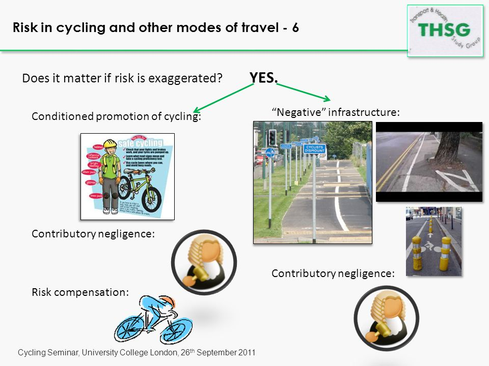 Cycling Seminar, University College London, 26 th September 2011 Risk in cycling and other modes of travel - 6 Does it matter if risk is exaggerated.