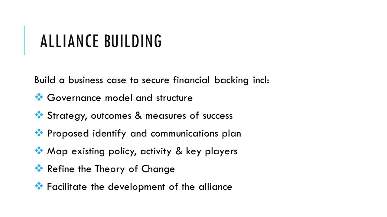 ALLIANCE BUILDING Build a business case to secure financial backing incl:  Governance model and structure  Strategy, outcomes & measures of success  Proposed identify and communications plan  Map existing policy, activity & key players  Refine the Theory of Change  Facilitate the development of the alliance