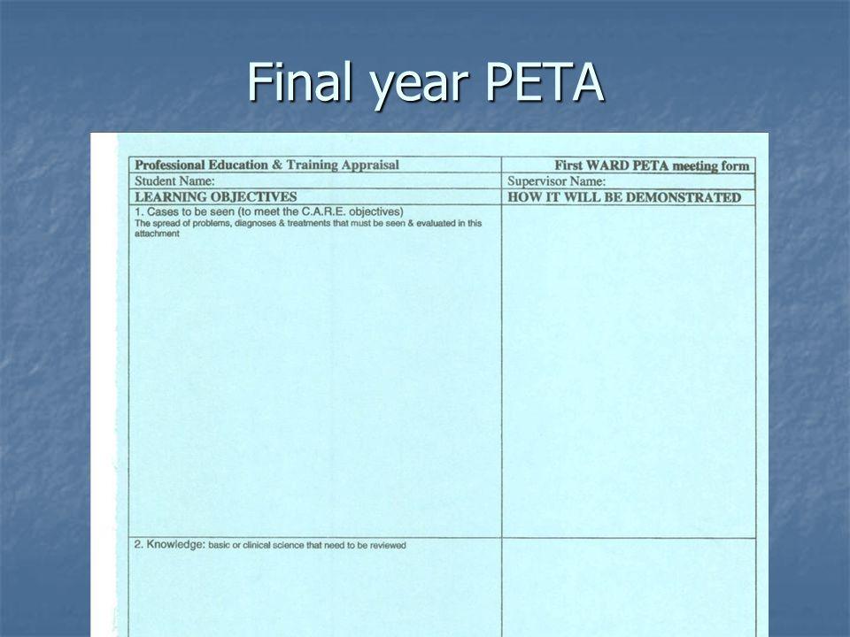 Final year PETA