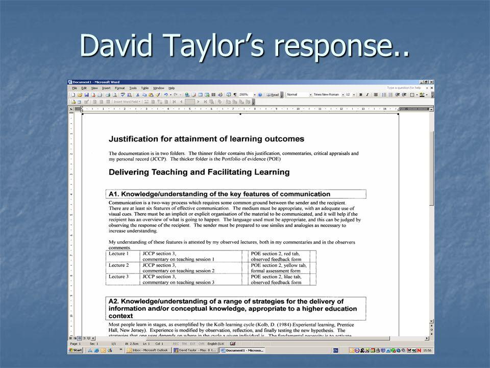 David Taylor's response..
