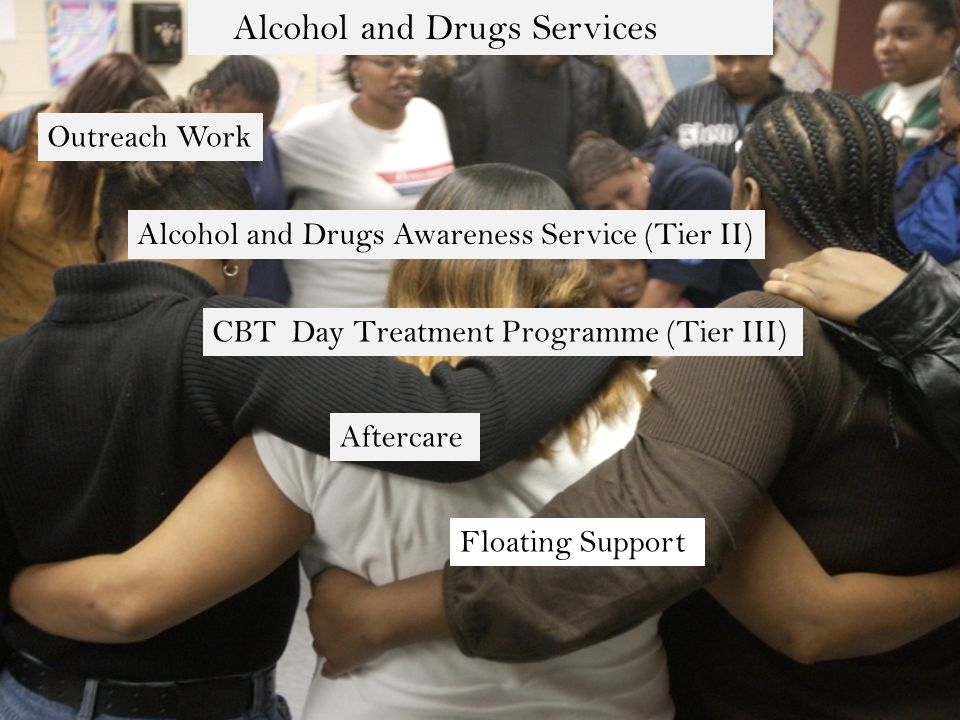 Alcohol and Drugs Services Outreach Work Alcohol and Drugs Awareness Service (Tier II) CBT Day Treatment Programme (Tier III) Aftercare Floating Support