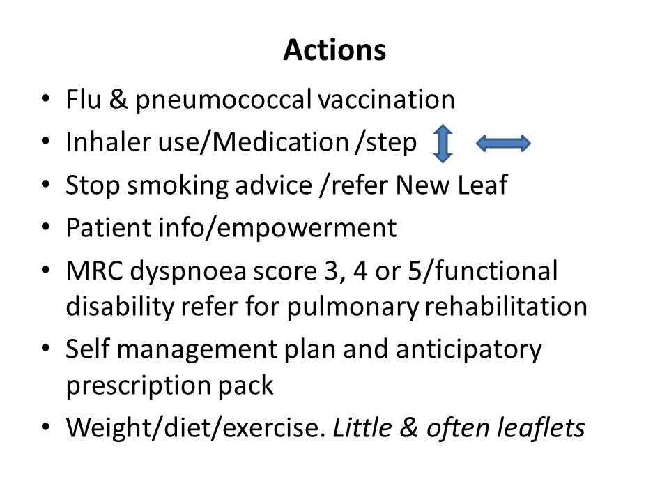 Actions Flu & pneumococcal vaccination Inhaler use/Medication /step Stop smoking advice /refer New Leaf Patient info/empowerment MRC dyspnoea score 3, 4 or 5/functional disability refer for pulmonary rehabilitation Self management plan and anticipatory prescription pack Weight/diet/exercise.