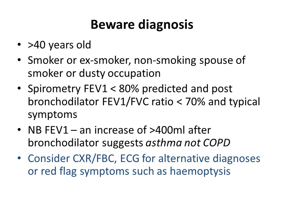 Be aware: are symptoms in accord with severity of COPD.