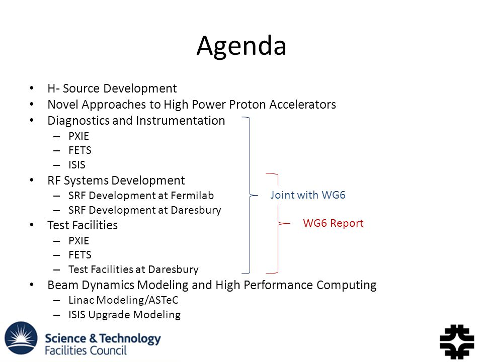 Agenda H- Source Development Novel Approaches to High Power Proton Accelerators Diagnostics and Instrumentation – PXIE – FETS – ISIS RF Systems Development – SRF Development at Fermilab – SRF Development at Daresbury Test Facilities – PXIE – FETS – Test Facilities at Daresbury Beam Dynamics Modeling and High Performance Computing – Linac Modeling/ASTeC – ISIS Upgrade Modeling Joint with WG6 WG6 Report