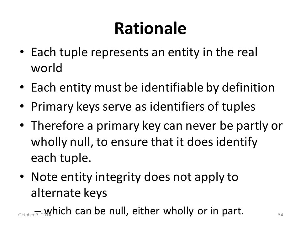 Rationale Each tuple represents an entity in the real world Each entity must be identifiable by definition Primary keys serve as identifiers of tuples