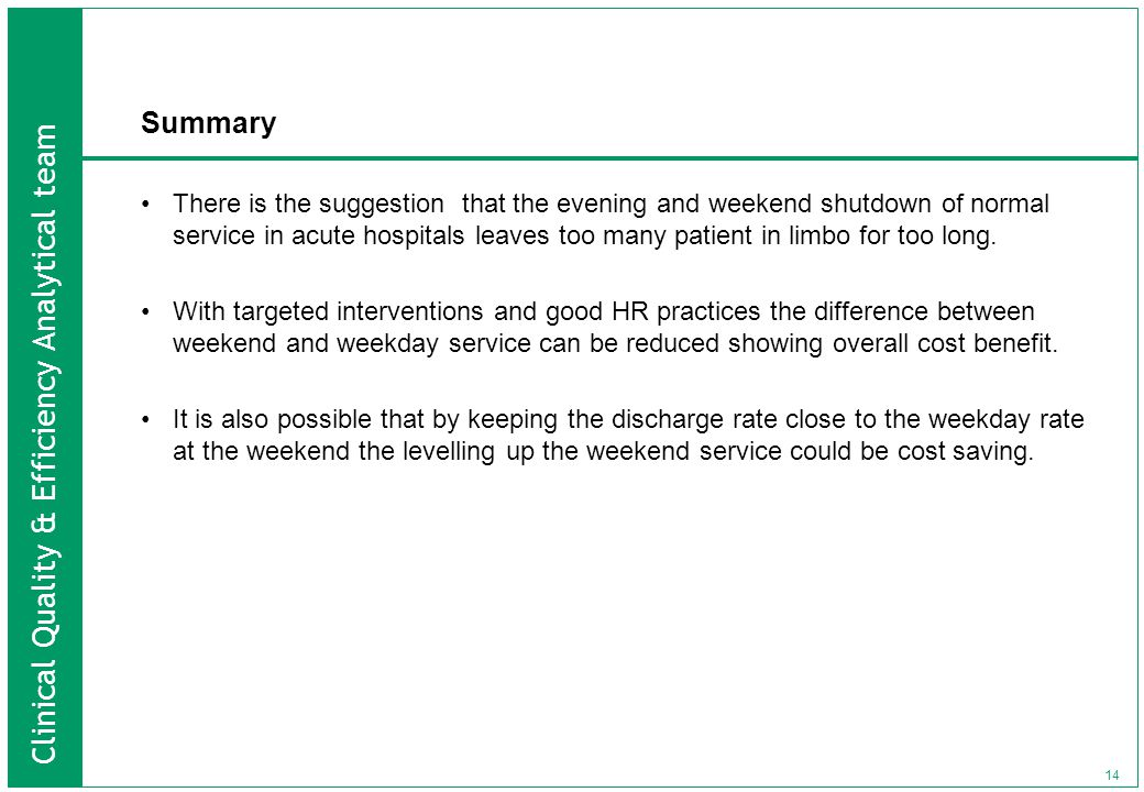 Clinical Quality & Efficiency Analytical team 14 Summary There is the suggestion that the evening and weekend shutdown of normal service in acute hospitals leaves too many patient in limbo for too long.