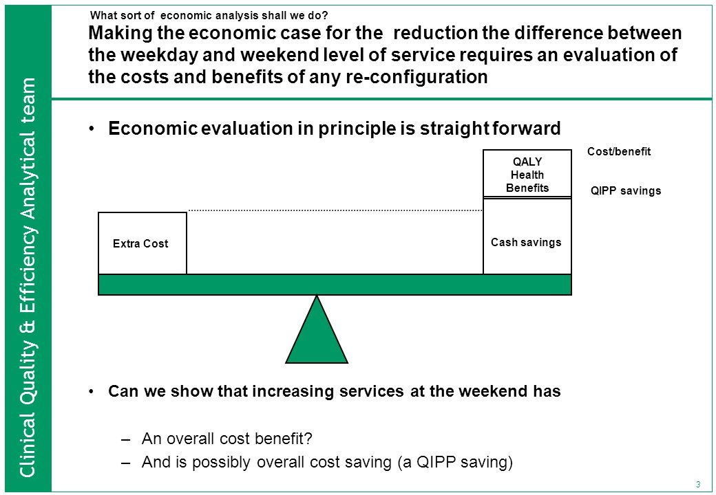 Clinical Quality & Efficiency Analytical team 3 Making the economic case for the reduction the difference between the weekday and weekend level of service requires an evaluation of the costs and benefits of any re-configuration Economic evaluation in principle is straight forward Can we show that increasing services at the weekend has –An overall cost benefit.