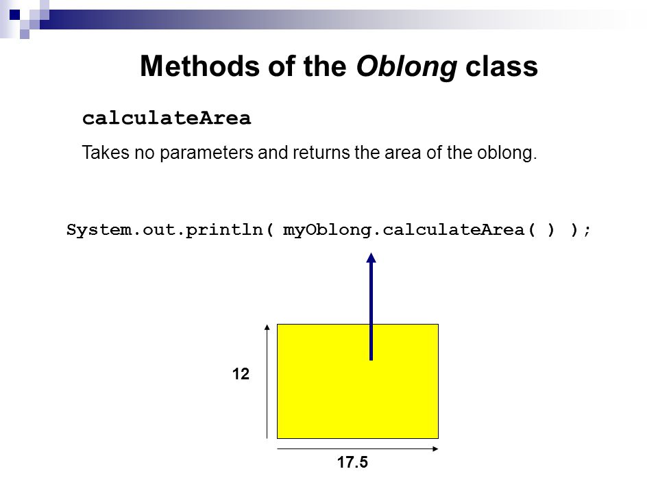 Methods of the Oblong class Takes no parameters and returns the area of the oblong.