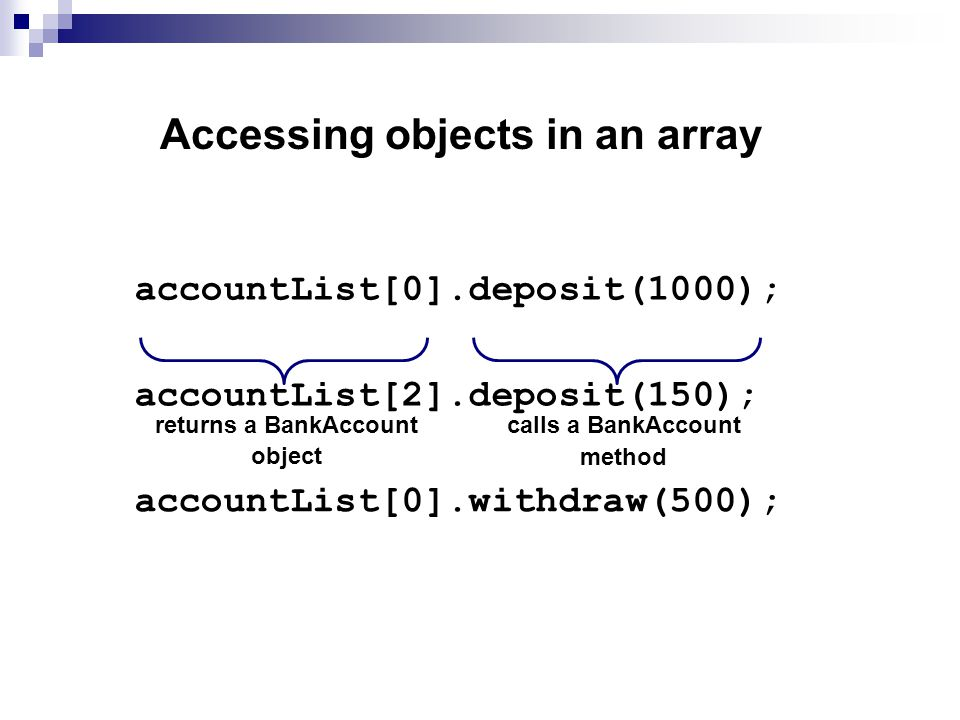Accessing objects in an array accountList[0].deposit(1000); returns a BankAccount object calls a BankAccount method accountList[0].withdraw(500); accountList[2].deposit(150);