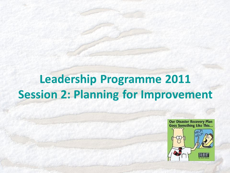 Leadership Programme 2011 Session 2: Planning for Improvement
